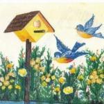 Bird House and Blue Birds