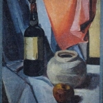 Drape and Wine Bottle