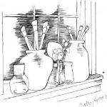 Artist Brushes in Jars